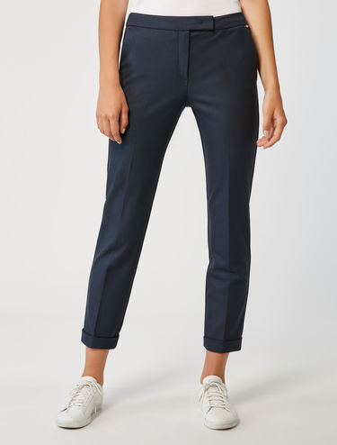 Micro texture slim-fit trousers
