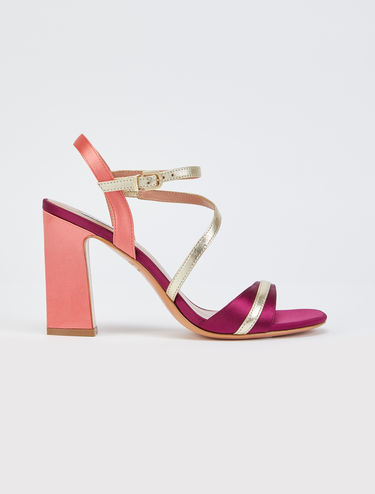 High-heeled satin sandals