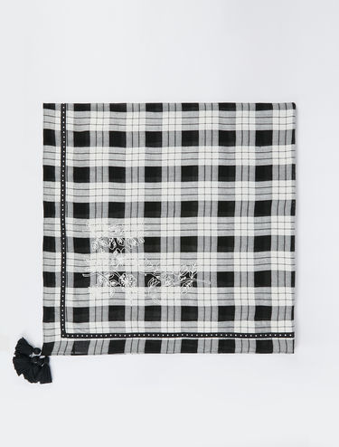 Checked embroidered scarf
