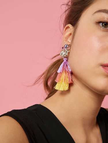 Earrings with tassels and rhinestones