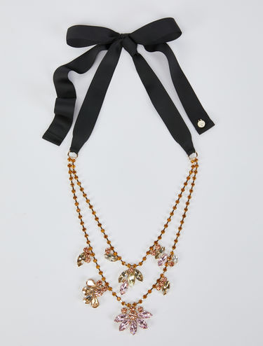 Double-strand necklace with rhinestone