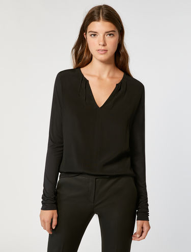 V-neck pleated jersey top