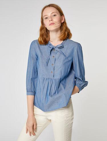 Gathered chambray shirt