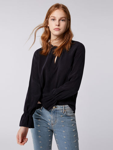 Micro-texture flowing blouse