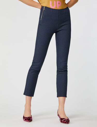 Slim-fit jacquard trousers