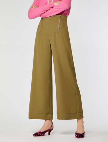Wide-leg stretch cavalry twill trousers