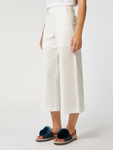 Broderie anglaise cotton trousers