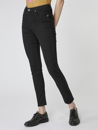 Skinny jeans with rhinestone side-stripes