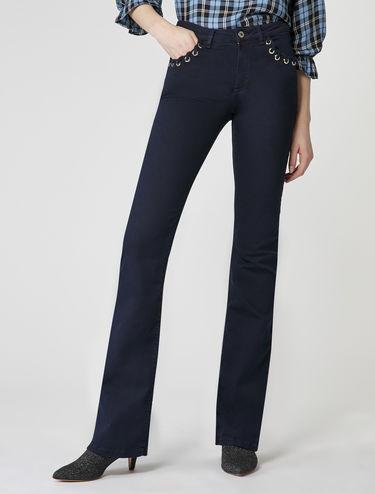 Bootcut-Jeans mit Zierösen