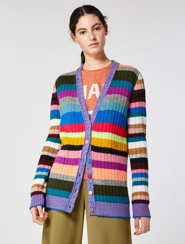 Multi-coloured striped cardigan