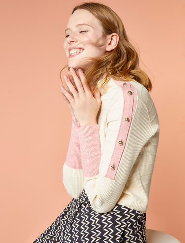 Jersey sweater with shoulder buttons