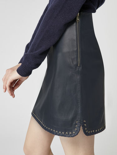 Leather A-line skirt with eyelet detail