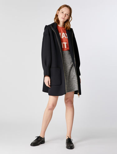 Hooded coat in jersey