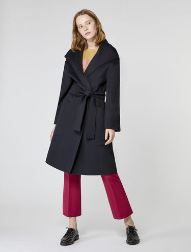 Abrigo con cinturón de lana/cachemira