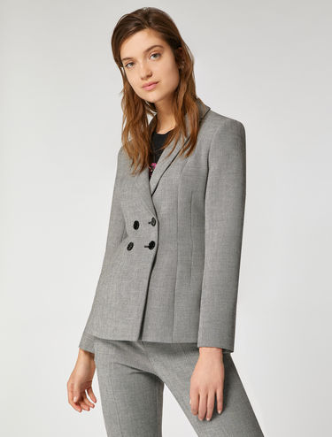 Slim-fit micro-patterned blazer