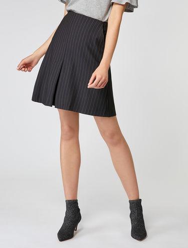 Pinstripe eyelet detail skirt