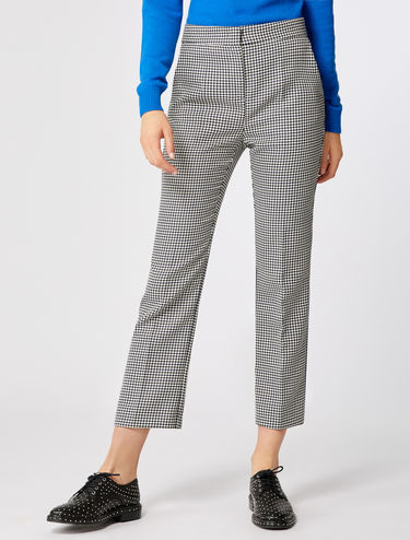 Print straight-leg trousers