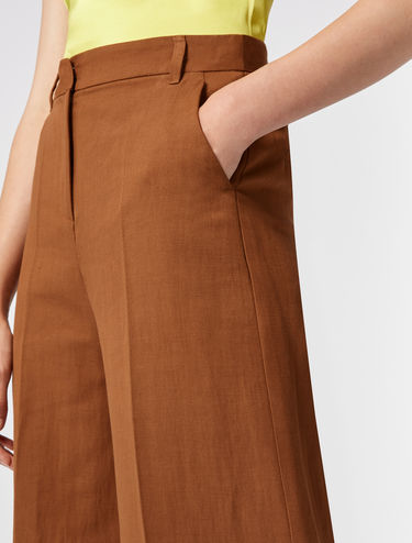 Wide-leg cotton/linen trousers