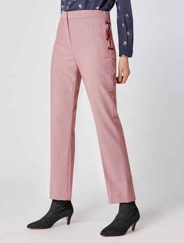 Micro-patterned eyelet detail trousers