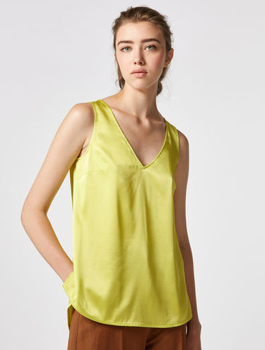 Stretch silk/satin V-neck top