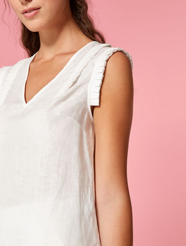 Pure linen top with ruching