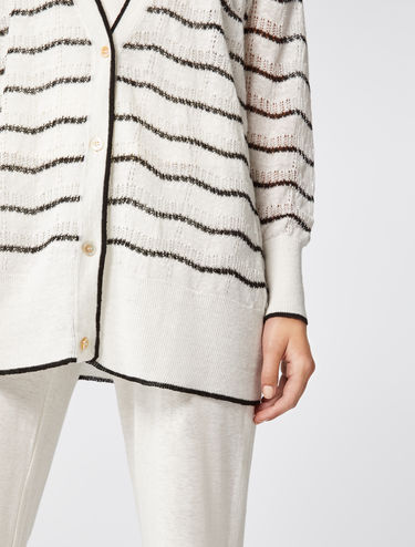 Pure linen mesh cardigan