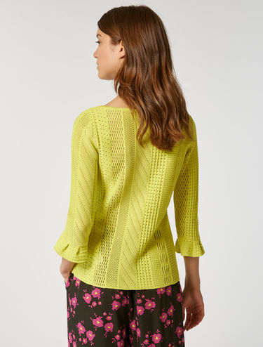 Mesh knitted sweater with frill cuffs