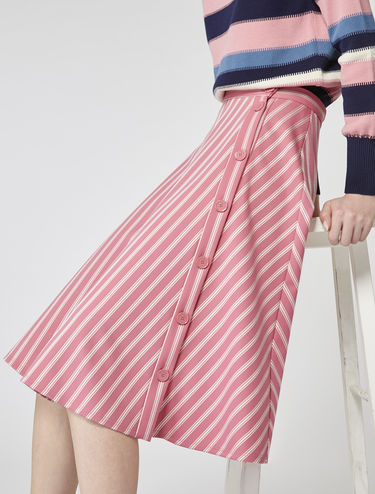 Flared jacquard stripe skirt