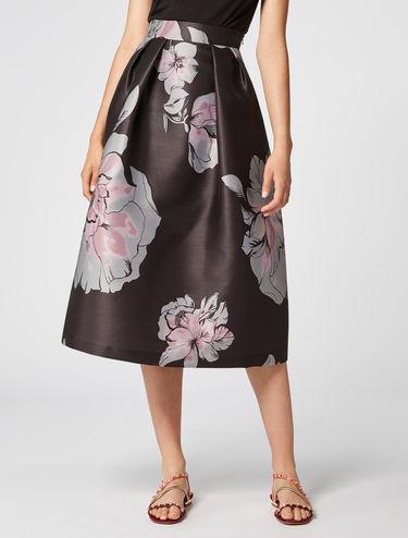 Floral jacquard corolla skirt