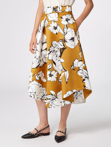 Flared corolla skirt in ottoman fabric