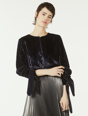 Velvet blouse with stripe effect