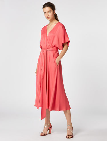 Midi dress in envers satin
