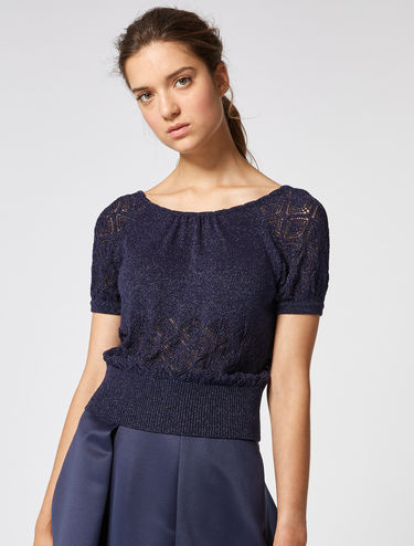 Mesh lamé sweater