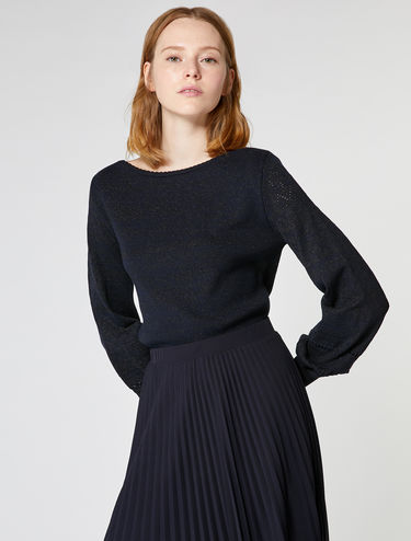 Micro-perforated lamé sweater