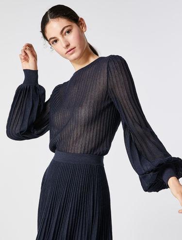 Pleated lamé blouse