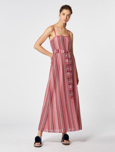 Langes Jerseykleid aus Lamé mit Spitzenoptik