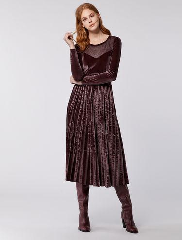 プリーツスカート ベルベットドレス