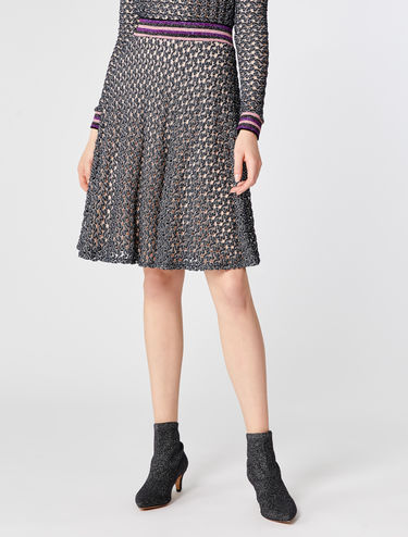 Lace jersey skirt with lamé stripe detail