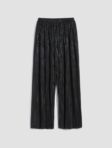Micro-pleated metallic jersey trousers