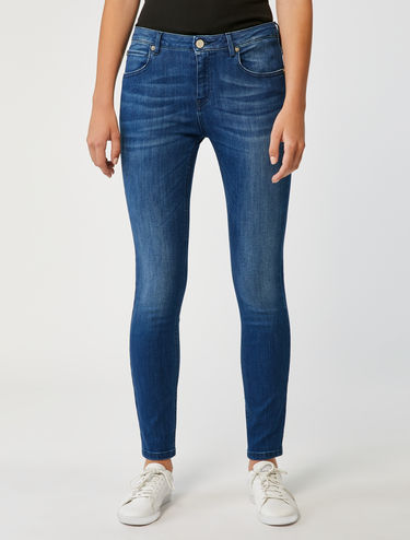 Skinny-fit vintage denim jeans