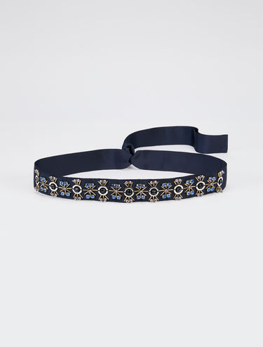 Beaded grosgrain belt