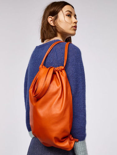Nappa leather backpack shopper