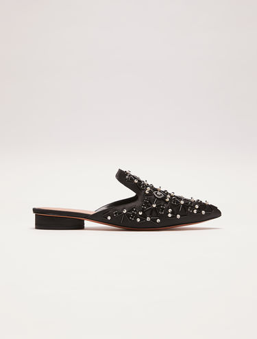 Jewel-embellished satin slipper mules