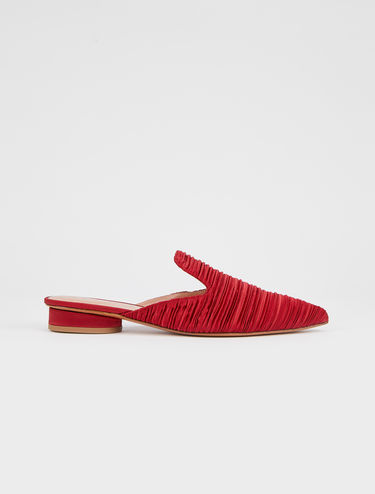 Pleated satin slipper mules