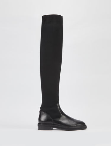 Thigh-high boots in nappa and knit