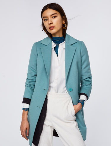 Cropped coat in pure wool
