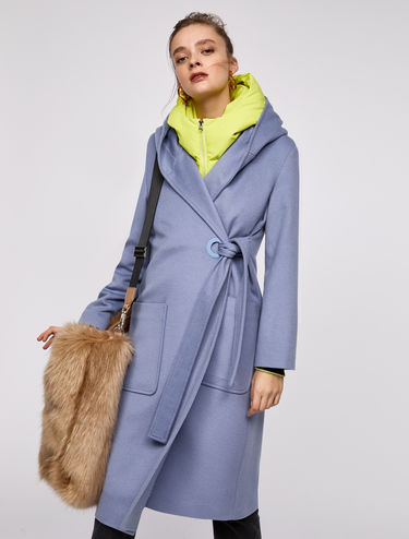 Pure wool coat with side fastening