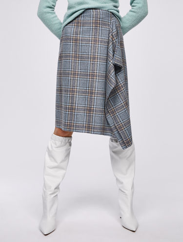 Tartan check skirt with ruffle detail