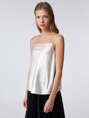 Strappy silk satin top