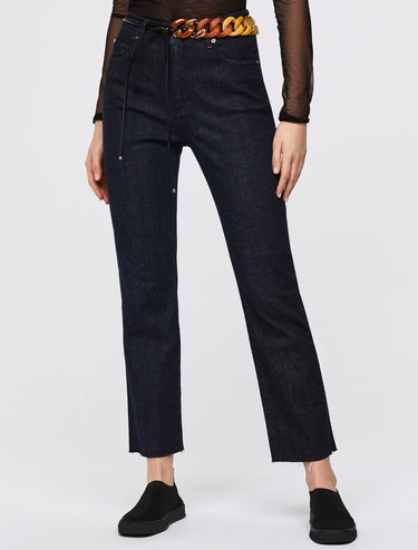 Straight-leg cropped blue jeans